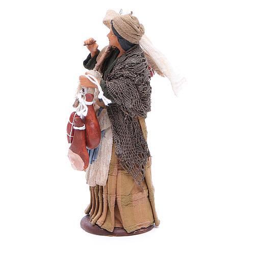 Wayfarer woman with cured meats for Neapolitan Nativity, 14cm 2