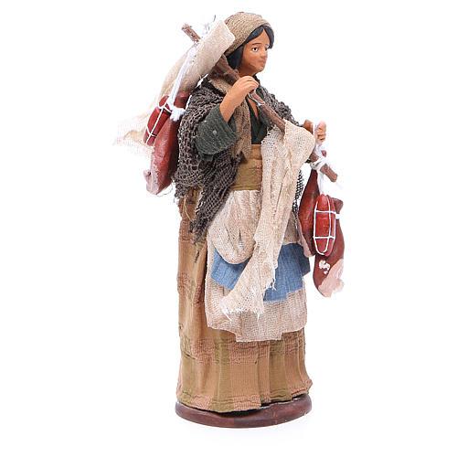Wayfarer woman with cured meats for Neapolitan Nativity, 14cm 3