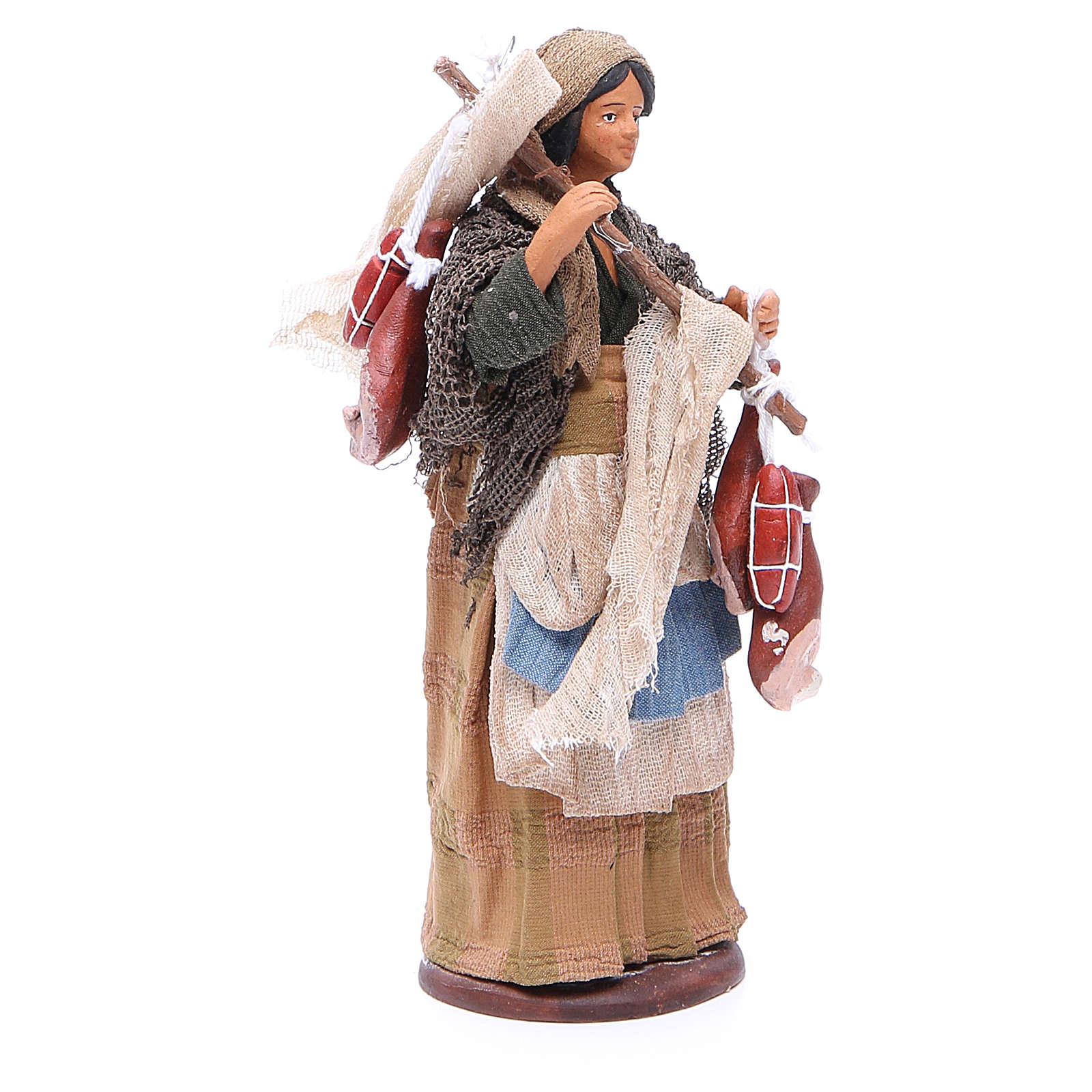 Mujer viajera con embutidos 14 cm belén napolitano 4