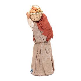 Donna cesto di frutta in mano 14 cm presepe Napoli s3