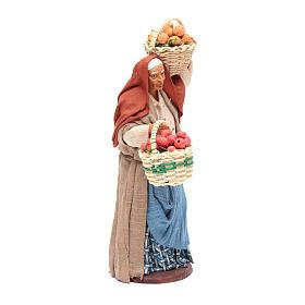 Donna cesto di frutta in mano 14 cm presepe Napoli s4