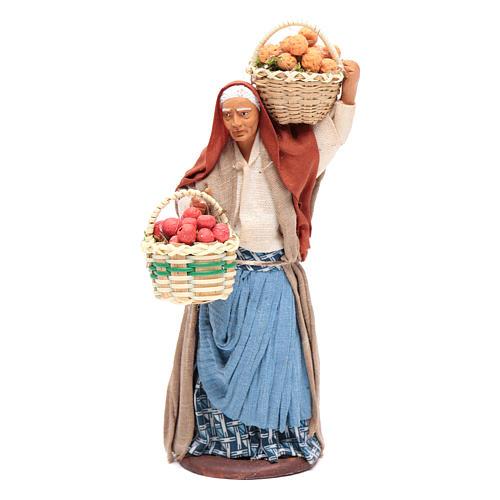 Donna cesto di frutta in mano 14 cm presepe Napoli 1