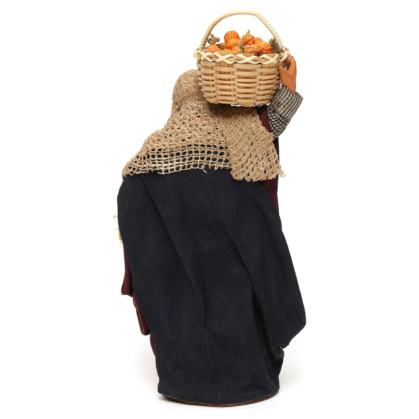 Kobieta kosz owoców w ręku 14 cm szopka z Neapolu 4