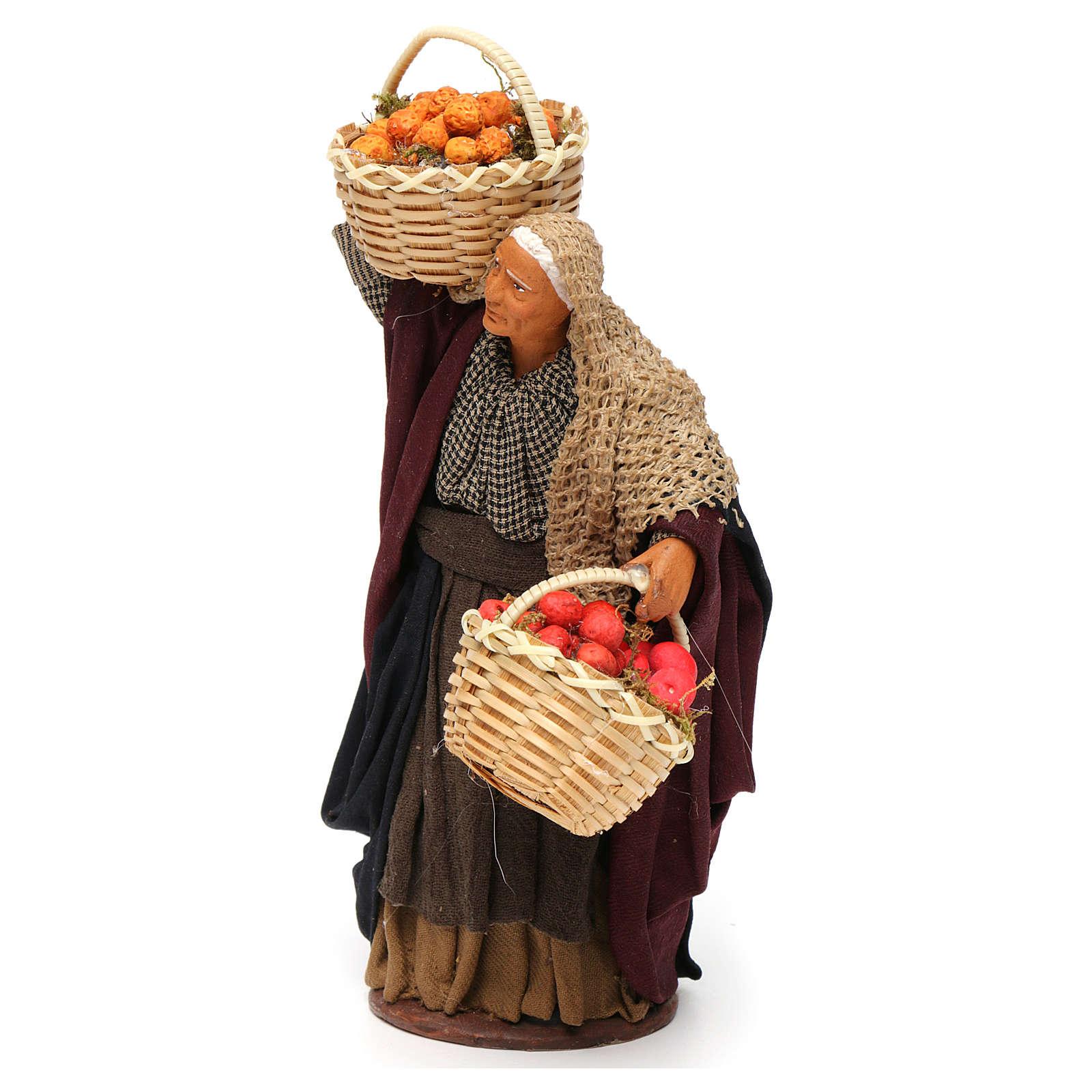 Mulher cesta de fruta na mão para presépio napolitano com peças de 14 cm altura média 4