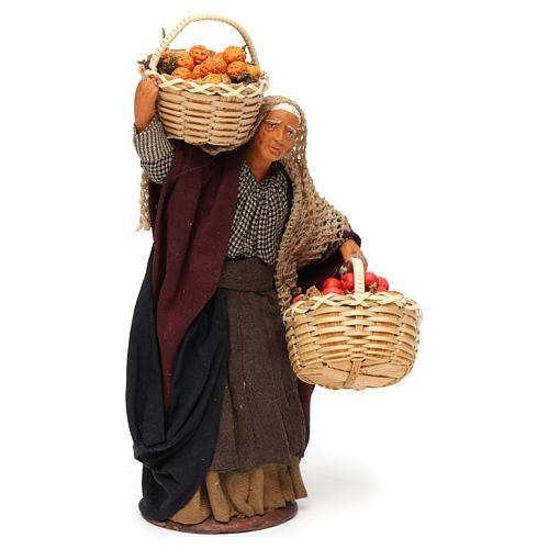 Mulher cesta de fruta na mão para presépio napolitano com peças de 14 cm altura média 3