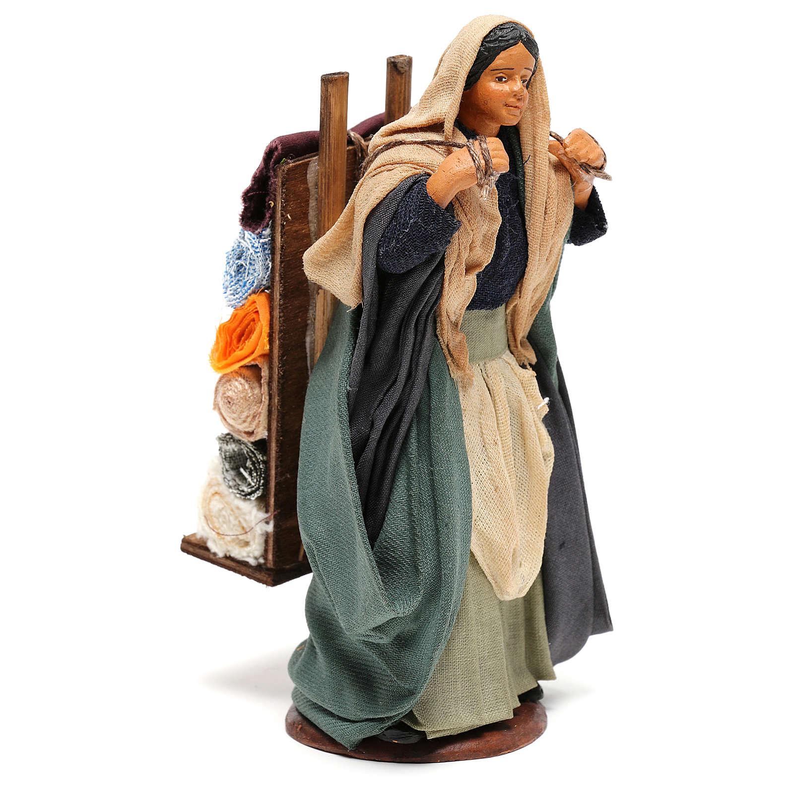 Woman carrying fabrics, figurine for Neapolitan Nativity, 14cm 4