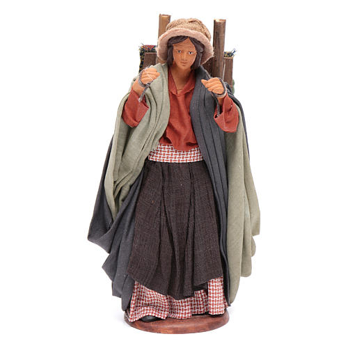Woman carrying fabrics, figurine for Neapolitan Nativity, 14cm 1