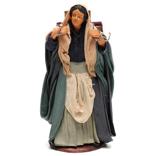Woman carrying fabrics, figurine for Neapolitan Nativity, 14cm 1