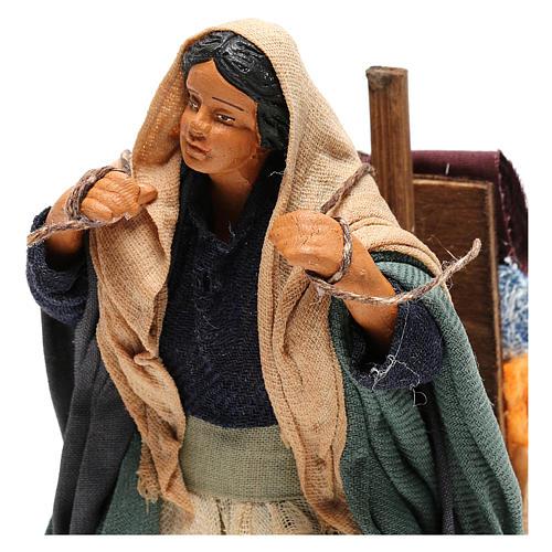 Woman carrying fabrics, figurine for Neapolitan Nativity, 14cm 2