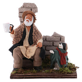 Neapolitan Nativity Scene: Beggar with dog figurine for Neapolitan Nativity, 12cm