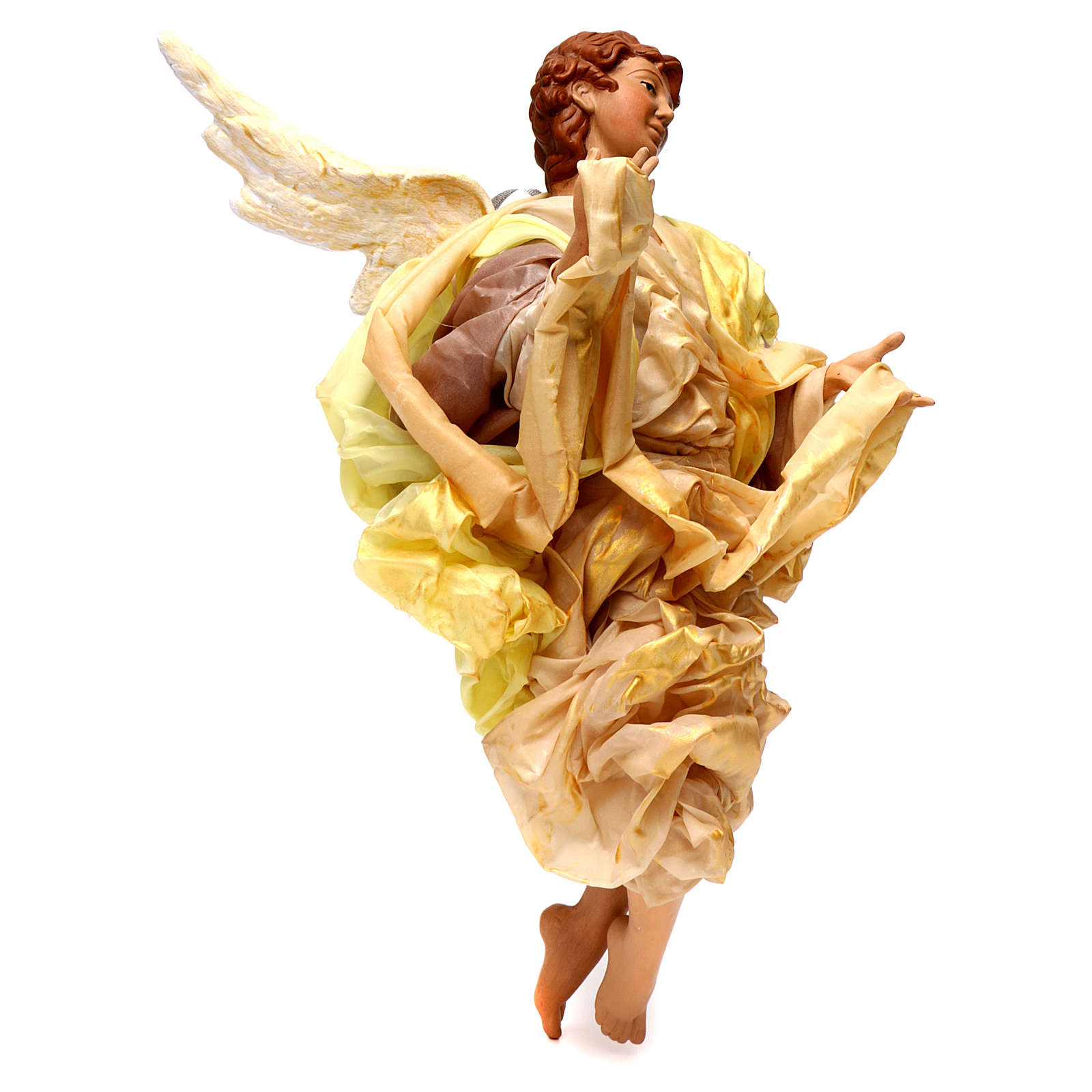 Blonde angel with gold clothes, figurine for Neapolitan Nativity, 45cm 4