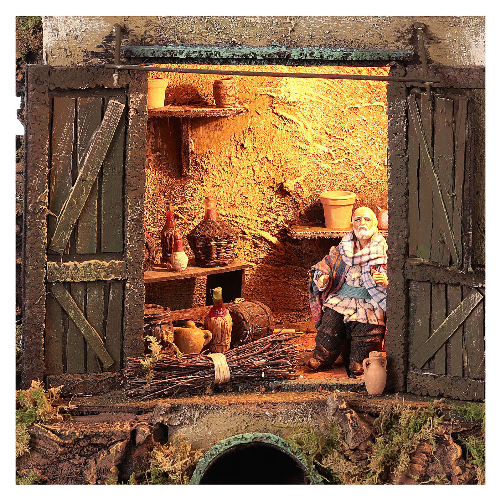 Cellar setting for Neapolitan Nativity, with lights 10cm 4