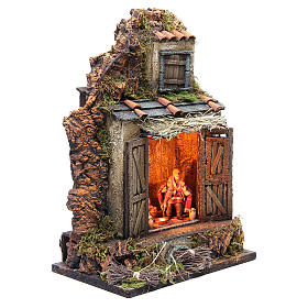 Cellar setting for Neapolitan Nativity, with lights 10cm s3