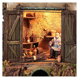 Cellar setting for Neapolitan Nativity, with lights 10cm s2