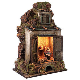 Cellar setting for Neapolitan Nativity, with lights 10cm s4