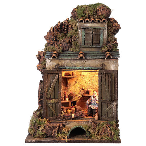 Cellar setting for Neapolitan Nativity, with lights 10cm 1