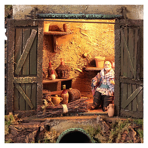 Cellar setting for Neapolitan Nativity, with lights 10cm 2
