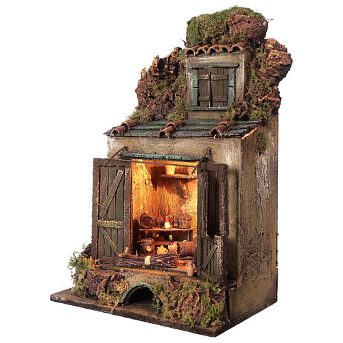 Cellar setting for Neapolitan Nativity, with lights 10cm 3