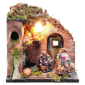 Potter figurine for Neapolitan Nativity, with lights 10cm s1