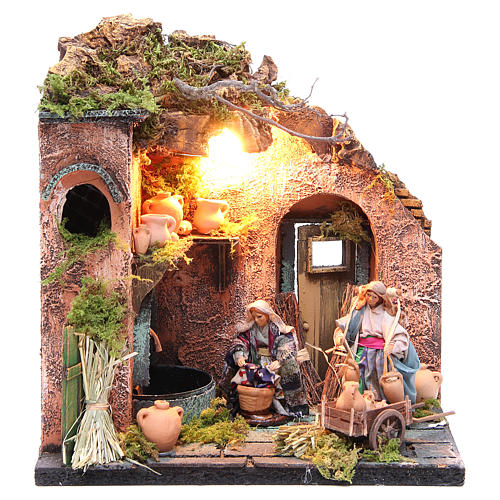 Potter figurine for Neapolitan Nativity, with lights 10cm 1