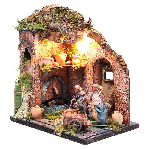 Potter figurine for Neapolitan Nativity, with lights 10cm 2