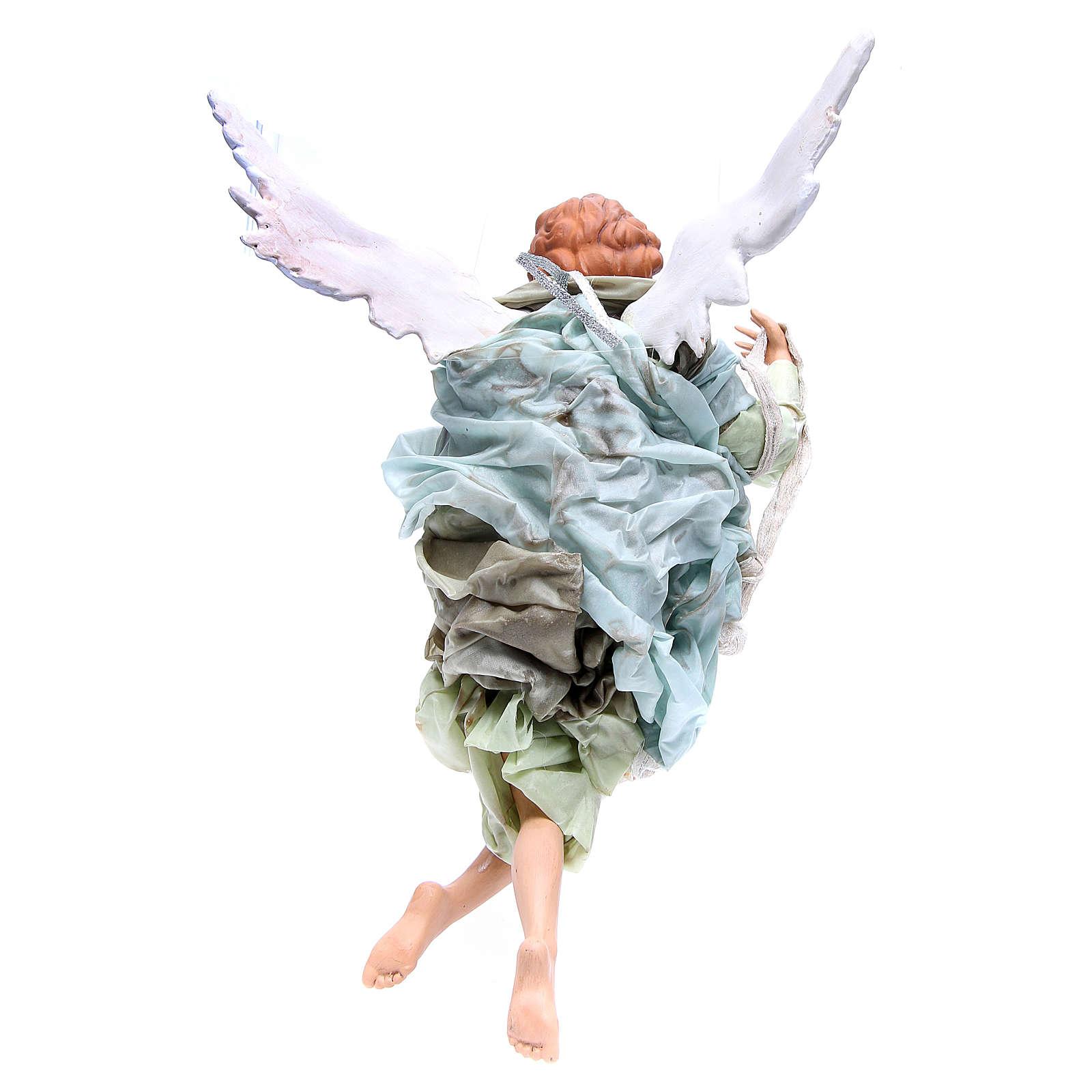 Ange blond 45 cm robe verte crèche Naples 4