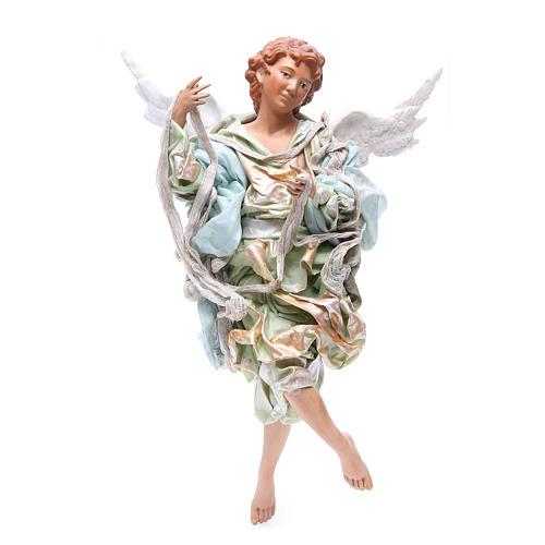Ange blond 45 cm robe verte crèche Naples 1
