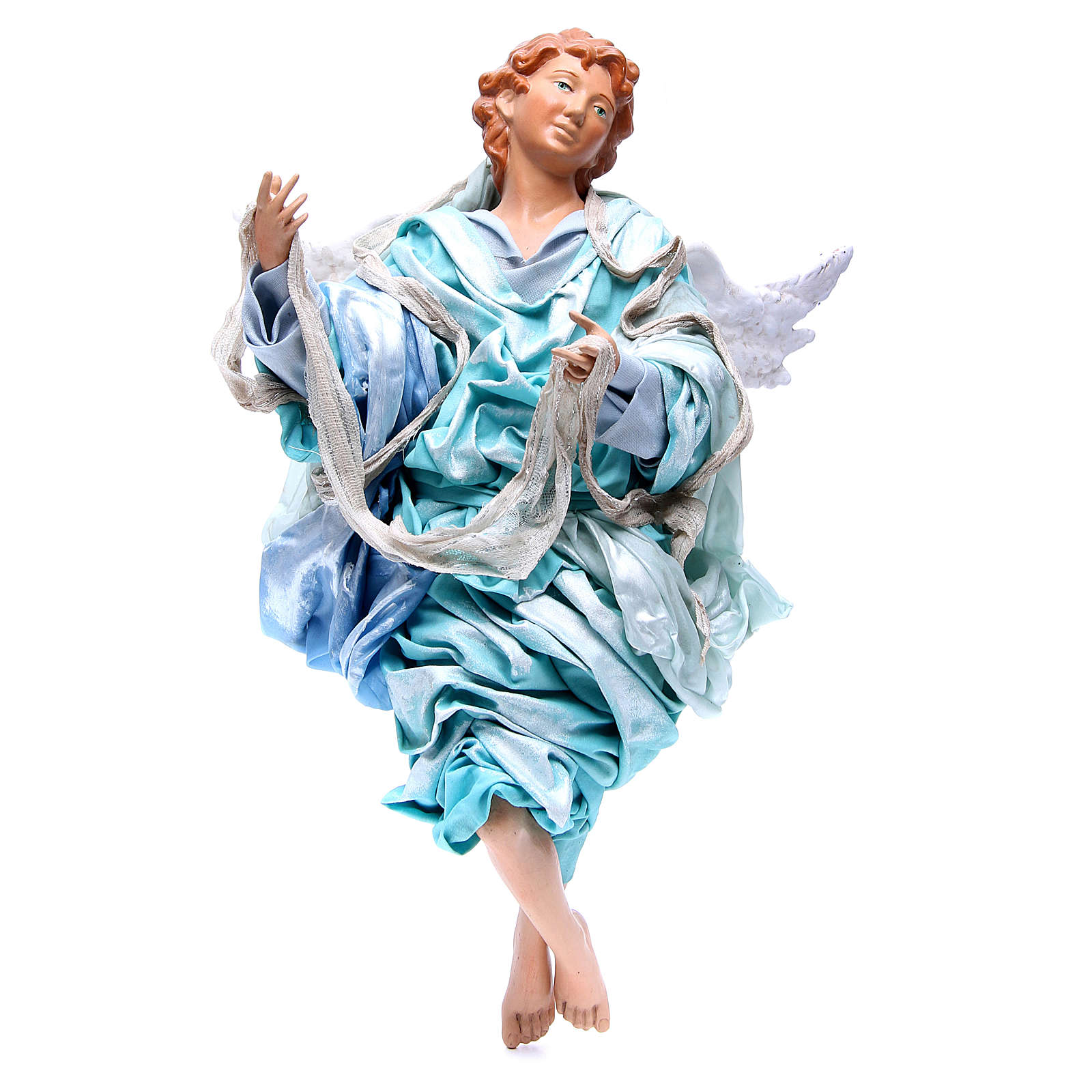 Blonde angel with light blue clothes, figurine for Neapolitan Nativity, 45cm 4