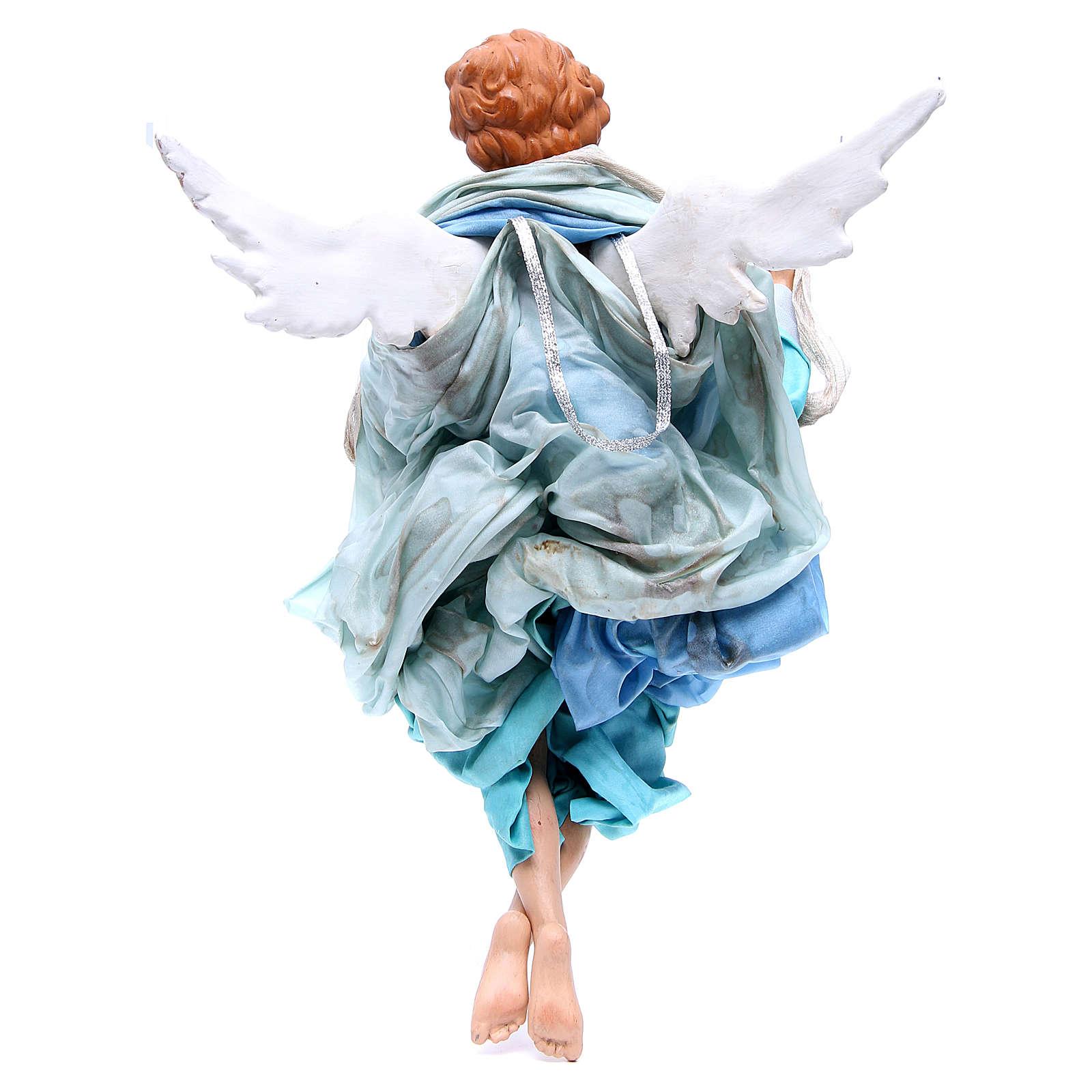 Ange blond 45 cm avec robe bleu clair crèche Naples 4