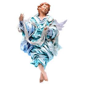 Ange blond 45 cm avec robe bleu clair crèche Naples s1