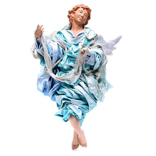 Ange blond 45 cm avec robe bleu clair crèche Naples 1