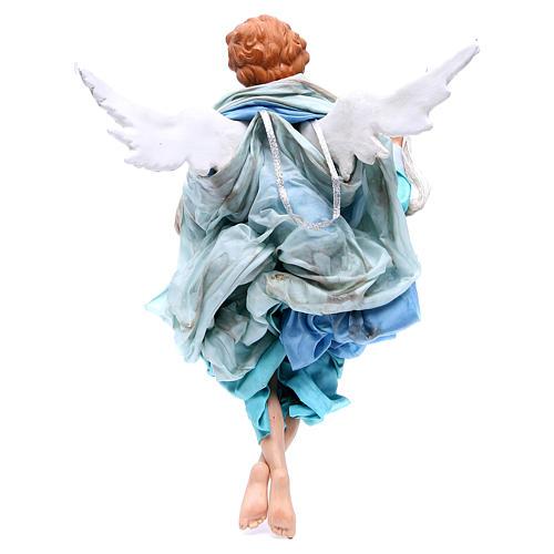 Ange blond 45 cm avec robe bleu clair crèche Naples 2