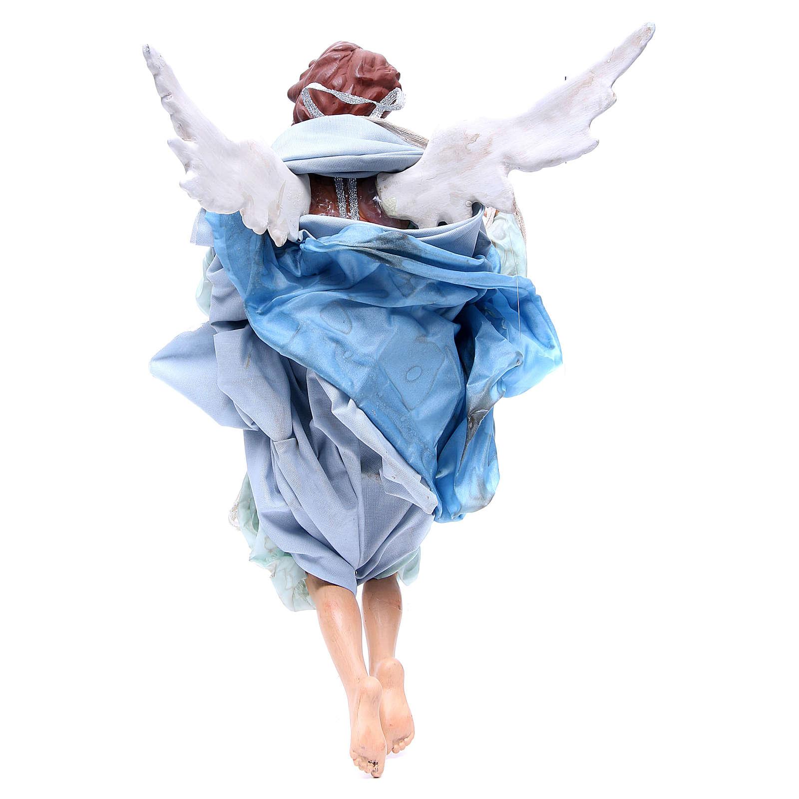 Ange roux 45 cm avec robe bleu clair crèche Naples 4