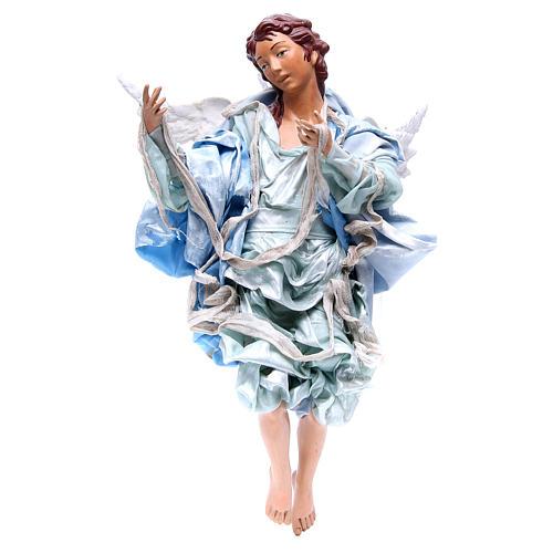 Ange roux 45 cm avec robe bleu clair crèche Naples 1