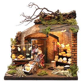 Neapolitan Nativity Scene: Illuminated cheese seller figurine for Neapolitan Nativity, 10cm