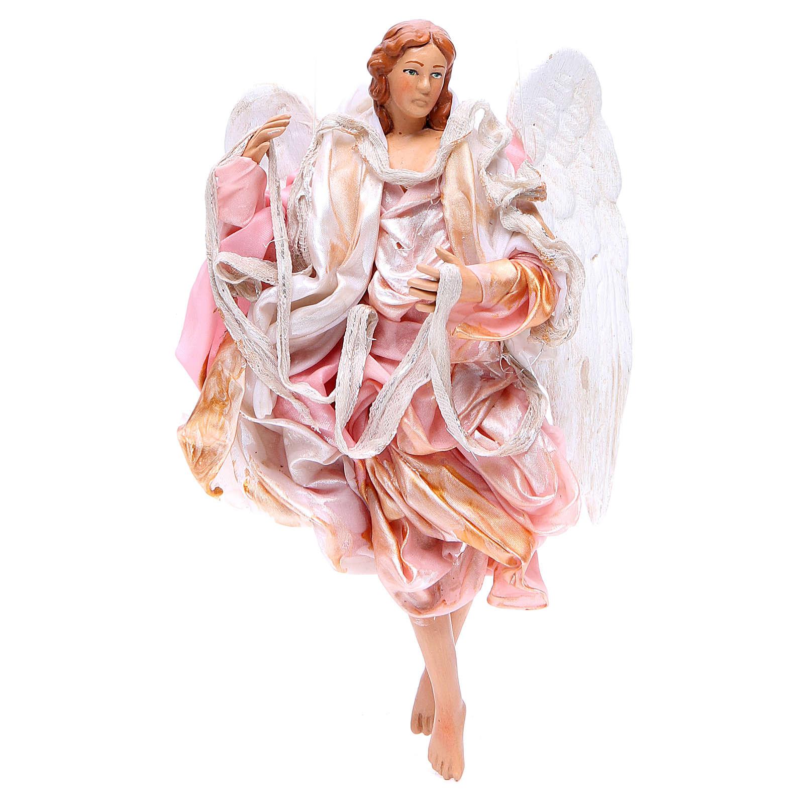 Ange 18-22 cm rose ailes pliées crèche Naples 4