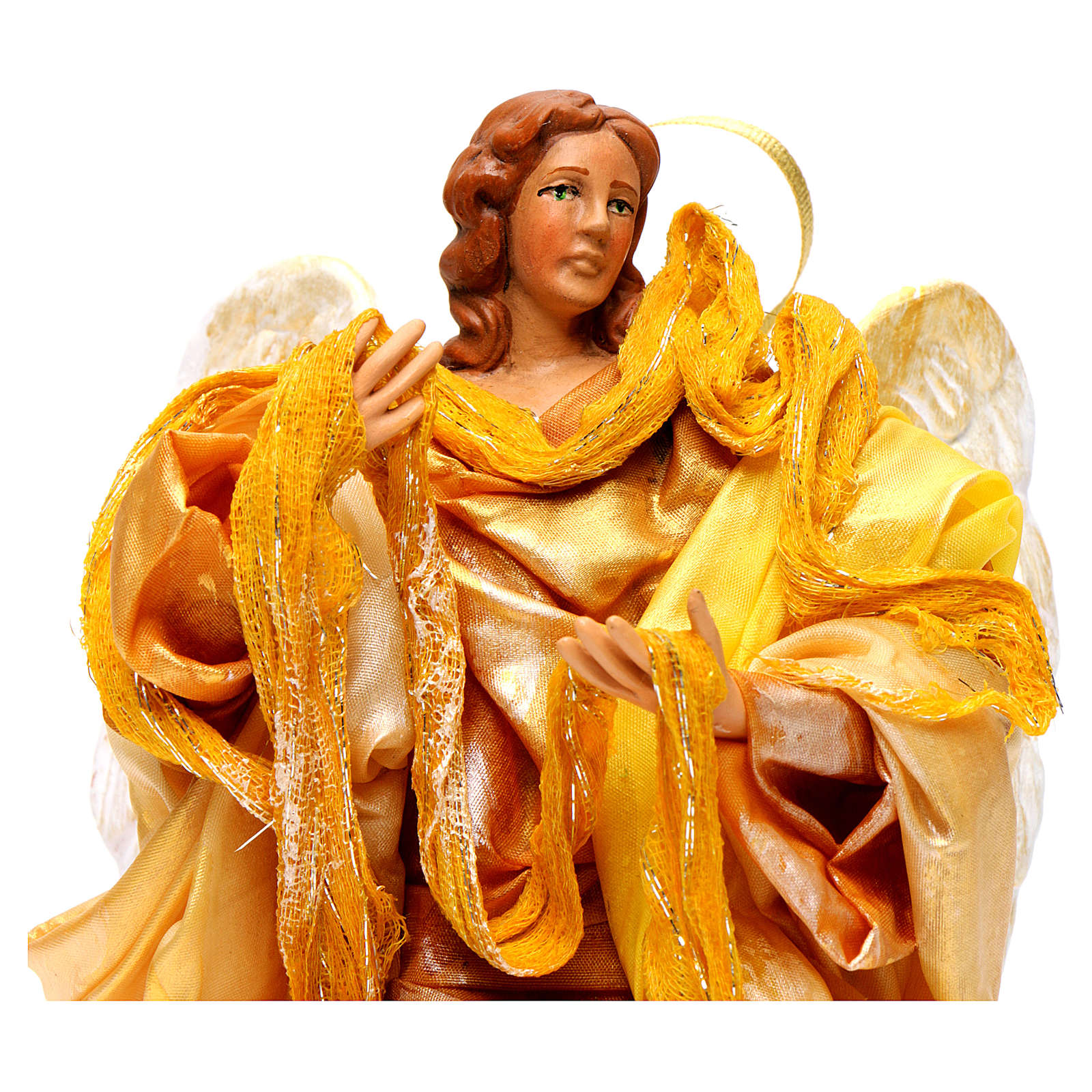 Gold angel with curved wings, figurine for Neapolitan Nativity, 18-22cm 4