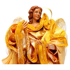 Gold angel with curved wings, figurine for Neapolitan Nativity, 18-22cm s2