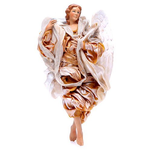 Gold angel with curved wings, figurine for Neapolitan Nativity, 18-22cm 1