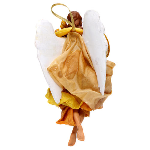 Gold angel with curved wings, figurine for Neapolitan Nativity, 18-22cm 3