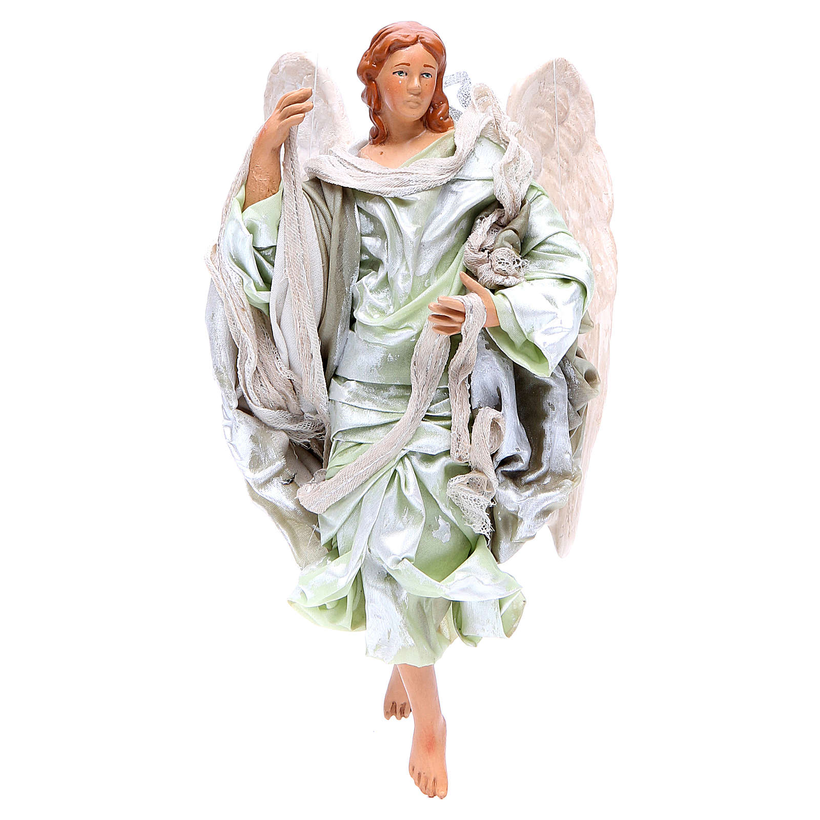 Green angel with curved wings, figurine for Neapolitan Nativity, 18-22cm 4