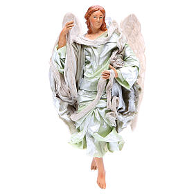 Green angel with curved wings, figurine for Neapolitan Nativity, 18-22cm s1