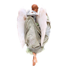 Green angel with curved wings, figurine for Neapolitan Nativity, 18-22cm s2
