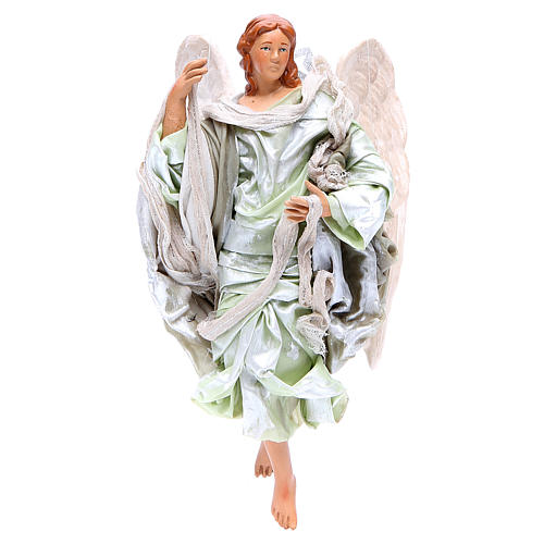 Green angel with curved wings, figurine for Neapolitan Nativity, 18-22cm 1