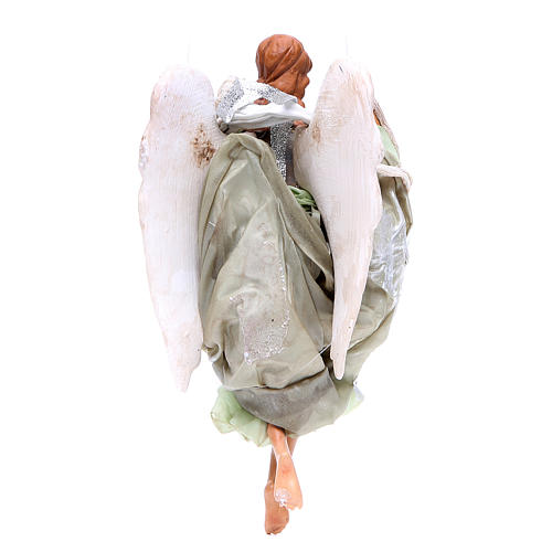 Green angel with curved wings, figurine for Neapolitan Nativity, 18-22cm 2