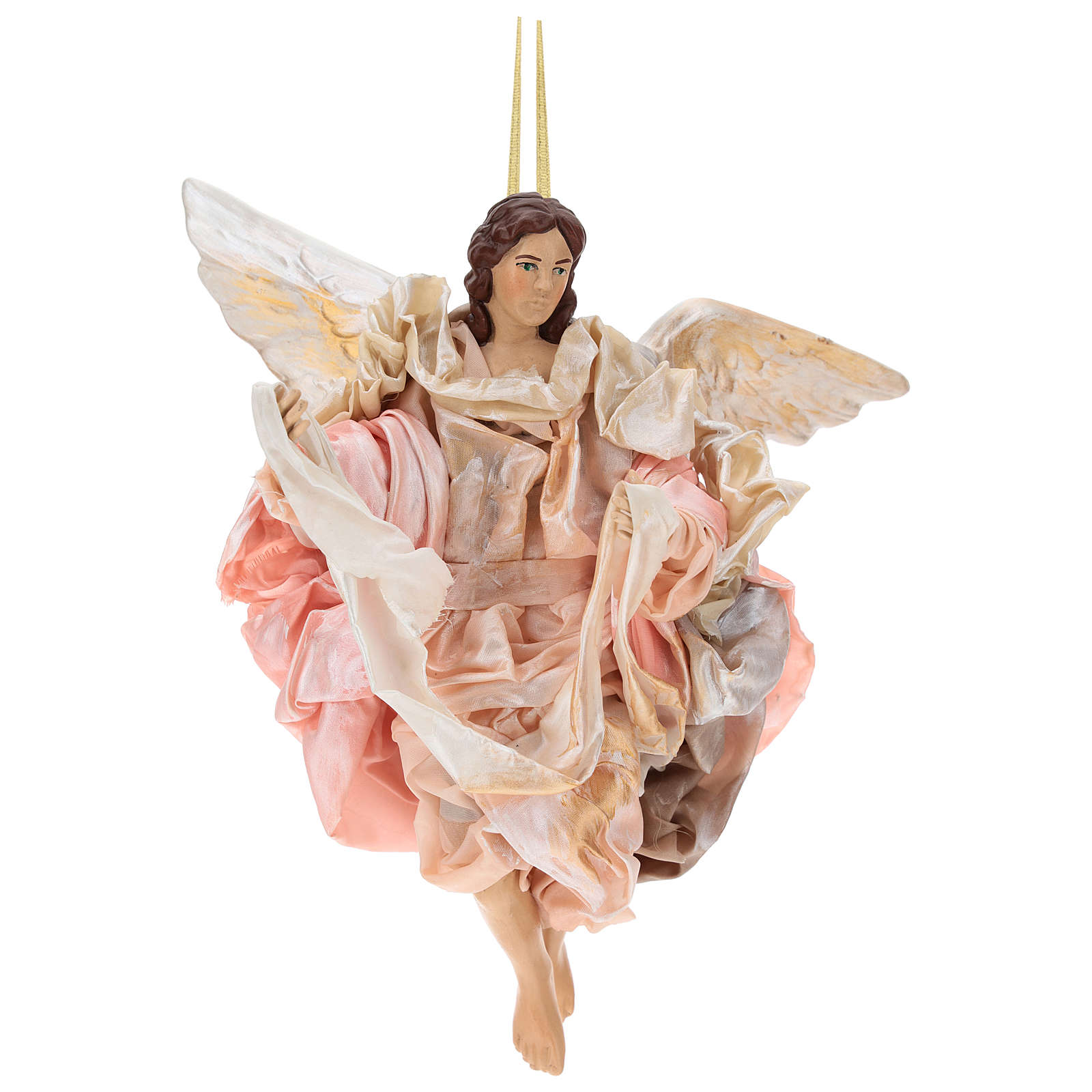 Pink angel with curved wings, figurine for Neapolitan Nativity, 30cm 4