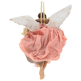 Pink angel with curved wings, figurine for Neapolitan Nativity, 30cm s5