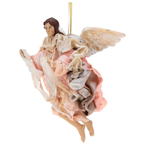 Pink angel with curved wings, figurine for Neapolitan Nativity, 30cm 3
