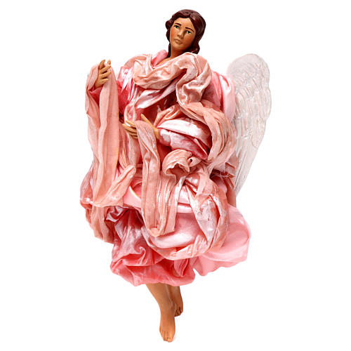 Pink angel with curved wings, figurine for Neapolitan Nativity, 30cm 2