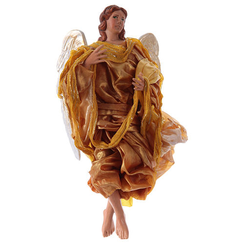 Gold angel with curved wings, figurine for Neapolitan Nativity, 30cm 1